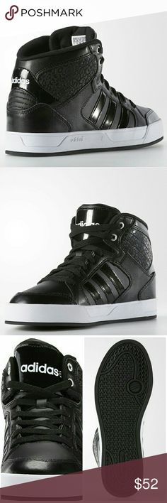 """NEW Adidas BBNeo Raleigh High Top An exotic leopard embossed back panel detail styles basketball-inspired smooth leather constructed high-top sneakers for an urban-chic casual fit. Brand new.   Sizing: True to size.  - Round toe with textured bumper - Leather construction - Leopard embossed shaft - Lace-up closure - Textile lined lightly padded insole - Quilted heel counter - Approx. 1"""" platform - Imported Materials Leather/manmade upper, textile lining, manmade lining Adidas Shoes Sneakers"""