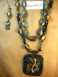 Abalone & Swarovski Crystal Necklace & Earrings