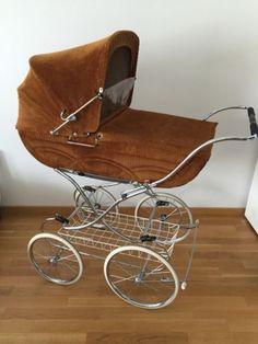 Nostalgie-Kinderwagen-Gesslein-Braun-Mit-Wagengarnitur-80Er-Jahre