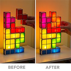 Tetris Stackable LED Desk Lamp It lights up when they are stacked together and is off when disassembled. thinkgeek.com