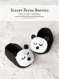Sleepy Panda Baby Booties - Free Crochet Pattern