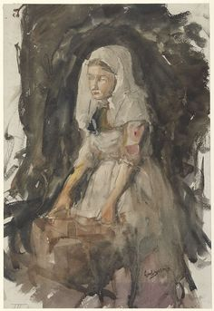 Schevenings meisje aan de wastobbe, George Hendrik Breitner, 1867 - 1923