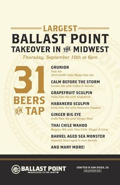 Chicago Craft Beer Events, September 8-10: Sour beers, Ballast Point Tap Takeover, food & beer fundraiser, and I-YERN MAY-DEN!