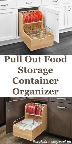 Do you have a food storage containers or plastics cupboard that is a mess, or where containers actually fall out when you open it? This pull put food storage container organizer is a great solution, where you can pull out the shelf to reach the container you want. Plus, there's even a place to hold and organize lids!