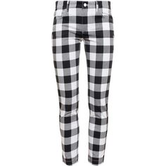 Dolce & Gabbana Gingham Trousers ($275) ❤ liked on Polyvore featuring pants, bottoms, jeans, trousers, white, dolce gabbana trousers, cropped trousers, white crop pants, slim-fit trousers and dolce gabbana pants