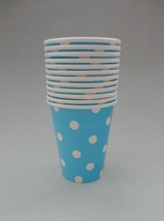 Polka Dot Party Cups - Blue/White