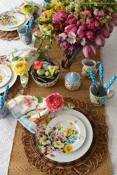 Spring table with Katie Alice English Garden dinnerware   Home is Where the Boat Is.   3/2015