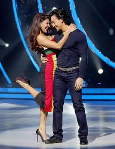 Tiger Shroff and Jacqueline Fernandez on the sets of Jhalak Dikhhla Jaa 9.