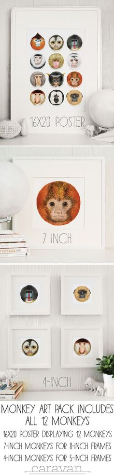 Monkey Art, by Mike Loveland for CaravanShoppe.com. Simply download and print. 13 different framable prints for only $6. Give as gifts!