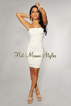Another awesome website for hot dresses! And good prices. White Woven Strapless Dress