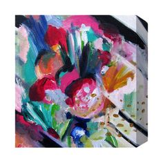 Add a pop of color to your entryway or home library with this eye-catching canvas print, showcasing an abstract floral motif.  Produ...