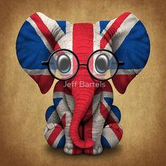 Baby Elephant with Glasses and Union Jack British Flag | Jeff Bartels