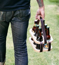 Wood & Leather Six-Pack Beer Carrier | Show off your carefully crafted homebrews and hand picked beer... | Food & Beverage Carriers