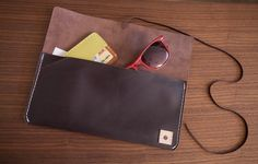 Womens Handmade Dark Leather Clutch with Leather by StandardGoods