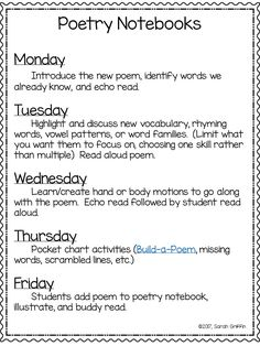 Daily Schedule for Poetry Notebooks