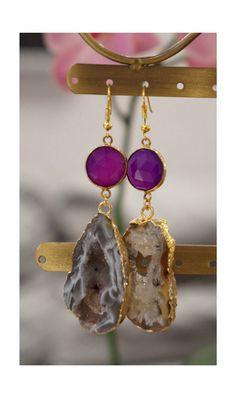 Agate Stalactite Slice & Bezel Amethyst by Polkadotjewelry on Etsy