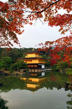 Kinkaku-ji also known as Rokuon-ji is a Zen Buddhist temple in Kyoto, Japan. The garden complex is an excellent example of Muromachi period garden design.