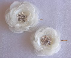 2 set of ivory bridal hair flower/ivory wedding by StacieRowie, $44.99
