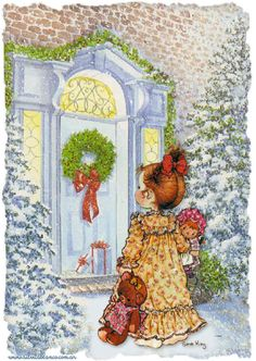 sarah kay - Page 7 Sarah Key, Vintage Christmas Cards, Christmas Pictures, Christmas Art, Vintage Cards, Christmas Scenes, Christmas Things, Illustration Noel, Christmas Illustration
