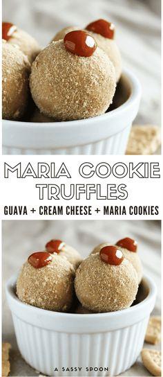 Crushed Maria Cookies, cream cheese and guava paste make this the ultimate Cuban sweet treat - Maria Cookie Truffles! via @asassyspoon