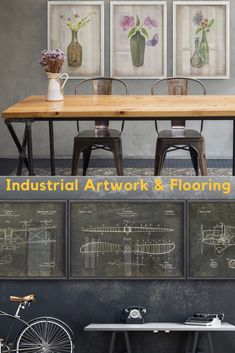 We pair industrial artwork and flooring to go with your industrial office furniture,