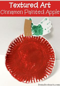 Textured Art: Cinnamon Painted Apple Craft for Preschoolers. I LOVE the idea of adding cinnamon for a sensory experience Preschool Apple Theme, Fall Preschool, Preschool Projects, Daycare Crafts, Classroom Crafts, Preschool Apple Activities, September Preschool Themes, Preschool Apples, Art Projects