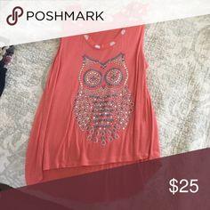 Sparkly owl tank top Pink tank top Tops Tank Tops