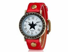 WOMAGE 523-9 Women's Star Print Round Dial Analog Watch Wrist Watch Red Strap