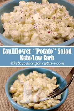 """Cauliflower """"Potato"""" Salad - Keto and Low Carb I take the flavors of potato salad and egg salad and combined them with a Keto/Low Carb twist by using cauliflower. You can put this together in under 15 minutes and the longer it's in the fridge, the better Low Carb Potatoes, Cauliflower Potatoes, Healthy Potatoes, Keto Cauliflower, Ketogenic Recipes, Low Carb Recipes, Healthy Recipes, Nutrition Education, Nutrition Activities"""