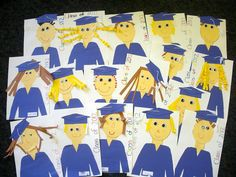 Get ready for kindergarten graduation with this cute paper craft. Each child will make paper portrait of themselves as the graduates. Graduation Crafts, Pre K Graduation, Graduation Theme, Kindergarten Graduation, Graduation Ideas, Kindergarten Art Projects, Kindergarten Rocks, Kindergarten Activities, Kindergarten Classroom