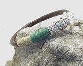 FREE SHIPPING-Men's Leather  Bracelet,Snake Bracelet - Brown Leather, Silver Plated Skull-Hook Clasp Leather wrap Bracelet