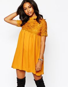 Boohoo Exclusive Lace Detail Swing Dress