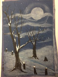 Winter scene. learning perspective (relative size) value and create atmosphere.