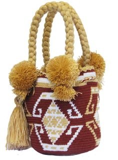 Buy Wayuu Bags Online-Colombian Bags Retailers and Wholesalers-Suscribe and Get 3 FREE Wayuu Bracelets with your first purchase! Tapestry Bag, Tapestry Crochet, Mini Mochila, Tribal Bags, Dark Brown Color, Light Pink Color, Tribal Patterns, Turquoise Color, Online Bags
