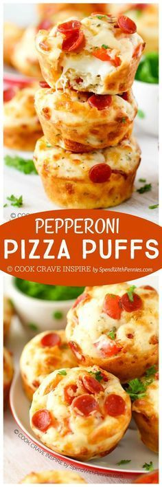 The perfect snack or lunch Easy Cheesy Pepperoni Pizza Puffs! The perfect snack or lunch box addition! Add your favorite toppings to make these your own! Party Finger Foods, Snacks Für Party, Lunch Snacks, Appetizers For Party, Pizza Appetizers, Pizza Snacks, Pizza Pizza, Pizza Cups, Box Lunches
