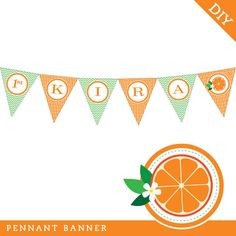 Orange theme party - printable pennant banner from Chickabug