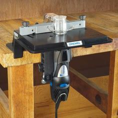 Dremel Shaper Table Attachment lets you make miniature molding, grooves, slots and decorative edges with your Dremel rotary tool. Woodworking Crafts, Woodworking Plans, Dremel Tool Accessories, Dremel Tool Projects, Dremel Ideas, Dremel Wood Carving, Dremel Rotary Tool, Nativity Sets, Story Stones