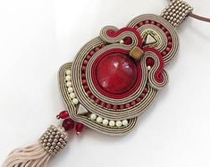 Beige burgundy old gold tassel boho necklace soutache OOAK statement necklace Soutache boho stone long pendant christmas gift for her