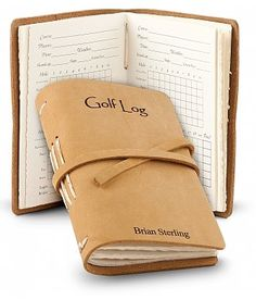 Great one for the golf lover, or giveaways for a golf tournament. Leather Bound Golf Log: Personalized Keepsake Gifts - A carefully handcrafted leather bound golf log made in America.