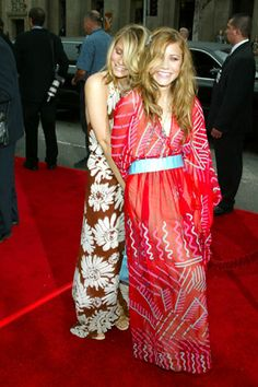 As Mary-Kate tells it, the 2003 premiere of Charlie's Angels: Full Throttle was a watershed moment for Olsen style. For the first time, both girls were allowed to pick their own dresses. The red Zandra Rhodes caftan MK selected remains one of her favorite red-carpet looks to date.