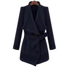 Yoins Waterfall Trench Coat in Navy with Belt (4.650 RUB) ❤ liked on Polyvore featuring outerwear, coats, jackets, navy, waterfall coat, blue coat, navy coat, blue trench coat and lapel coat