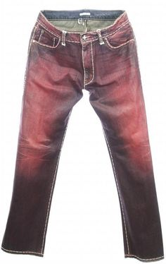 NWT Hoss Couture Men s Red Whip Stitch Denim Leather Pocket Jean Size 38,  40 D33 0ea933fb9b