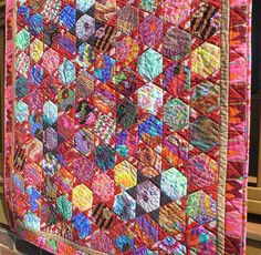 Red Hexie Stars Quilt Made with Kaffe Fassett Fabrics by NonnaZac
