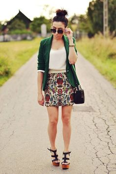 Big print Floral Skirt, tank, and long cardigan with wedges and top knot