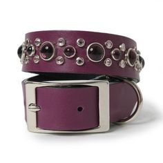 Grape Leather and Amethyst Mix Stone Dog Collar