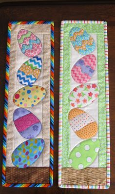 Easter Egg quilt wall hanging made to order by QuiltingByJan - Fabric Crafts Table Runner And Placemats, Table Runner Pattern, Quilted Table Runners, Easter Projects, Easter Crafts, Craft Projects, Spring Crafts, Holiday Crafts, Quilted Wall Hangings