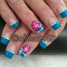 Blue tips with pink flower