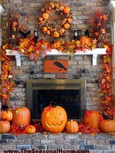 Like the raven sign.....fall/halloween mantel