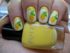 Yellow Lemon Nail Art Stamping http://moondancerjen.blogspot.com
