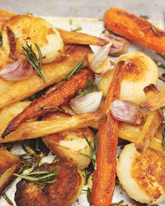 Jamie Oliver's roast potatoes, parsnips and carrots.